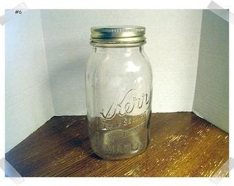 Kerr Self Sealing Glass Mason Jar/with Aluminum Goldtone Lid #6/ Vintage*