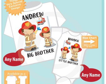 Matching Set, Big Brother Shirt, and Little Brother Onesie or Shirt, Personalized Firefighter Tee Shirt and Onesie Set of Two (08122015e)