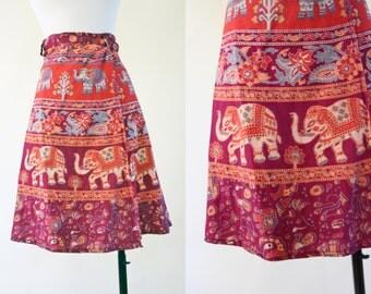 1970s Indian Cotton Skirt - Vintage 70s Gauze Wrap Skirt Novelty Print Block Print S to L - Elephant Parade