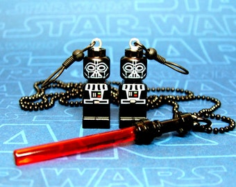 SALE - Darth Vader Earrings and Necklace Set made from Genuine Star Wars LEGO (r) Microfigs - LIMITED