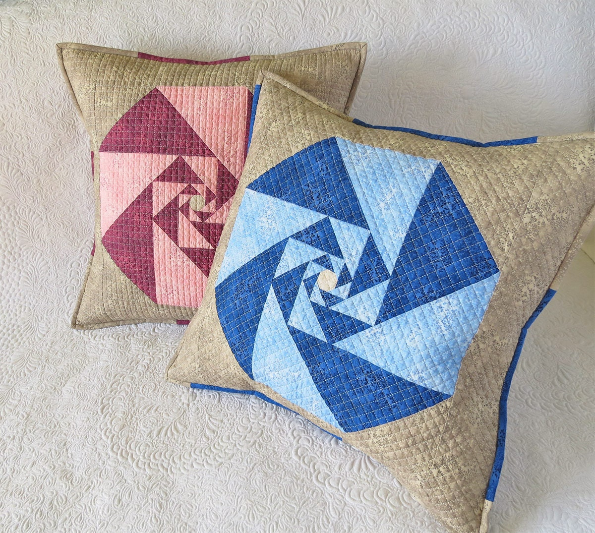Quilted Decorative Pillow Covers : Decorative Quilted Pillows Covers-original geometric patchwork
