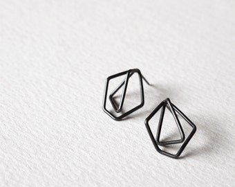 Geometric Sterling Silver Earrings, Faceted Silver Earrings, Minimalist Silver Earrings, Statement Silver Earrings