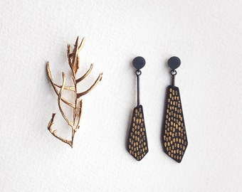 Mismatched Drop Earrings, Statement Drop Earrings, Black Dangle Earrings , Silver Drop Earrings, Minimalist Earrings