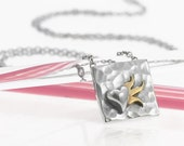 Silver and Gold Vermeil Flaming Heart Necklace