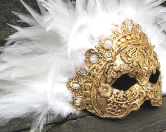 Adult mask Gold Venetian masquerade, with white feathers, Regine