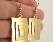Shiny Gold Rectangle Earrings, Rectangular Gold Earrings, Geometric Earrings