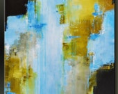 Blue Falls - 30 x 40 - Abstract Acrylic Painting - Fine Art Contemporary Wall Art Large