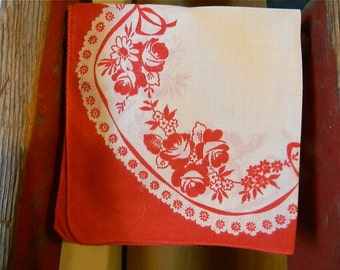 """Vintage Hankie/Hanky Valentine Puzzle Hanky """"Red and White Delight"""" Printed Hanky, Flowers and Lace"""