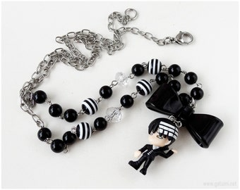 Death the Kid Necklace, Black and White, Beaded Chain, Soul Eater, Anime Figure, Kawaii Jewelry