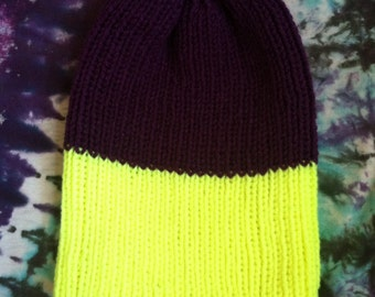 purple and neon yellow colorblock beanie