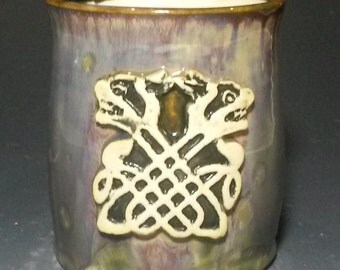 Entwined Fox Celtic Knot Stamped Purple Brown Green Crystalline Glazed Porcelain Wheel Thrown Ceramic Clay Mug