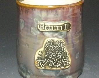 Zodiac Gemeni May June Astrology Symbol Stamped Brown Purple Blue Green Crystalline and Black Glazed Porcelain Handmade Coffee Mug