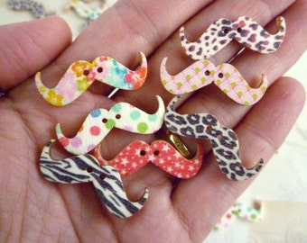 Wooden Buttons - Colourful Moustache Buttons - Pack of 10