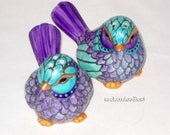 Bird Salt Pepper Shakers Hand Painted Cake Toppers, Easter Table Top Decor
