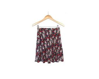 BTS SALE Vintage 90s Cherry ORCHARD Indigo Blue Silk Floral Print Flowy Mini Skirt xs s