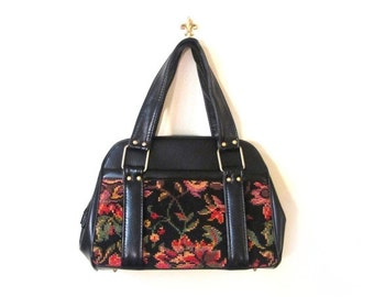 BTS SALE Vintage 60s Floral Needlepoint Tapestry and Faux Leather Handbag