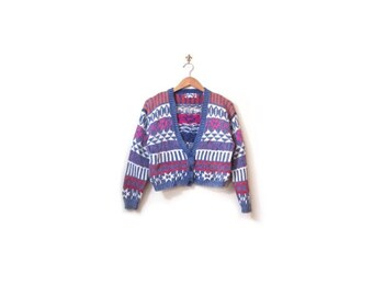 BTS SALE Vintage 80s Cropped Knit V Neck Tribal Print Cosby Sweater Button Up Cardigan s m