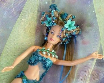 Protection Spirit Turquoise Doll,  Beaded Doll, Altered Dol, Fantasy Doll by mystic2awesome
