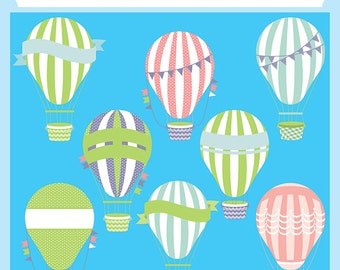 Hot Air Balloons - Instant download, wedding balloon, pennant banner, cute, baby, party printables - Personal and Commercial Use Clip Art