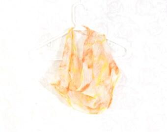 Nuno Felted Scarf  Gift for Her Bib Scarf Cowl Infinity Scarf Autumn Spring Scarf Fall Scarf Womens Scarf Orange Yellow on White Silk Gauze