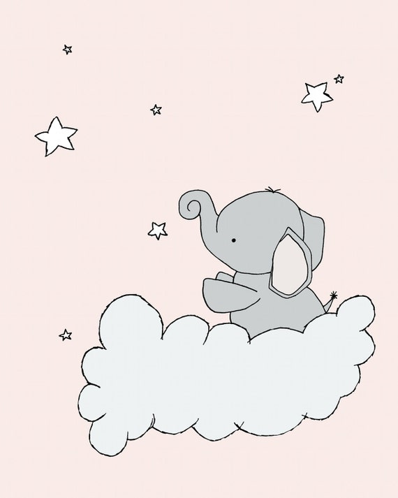 Elephant Nursery Art Print Elephant Star Cloud Pink And