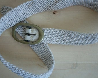 Vintage 1970s White and Brass Rope Belt