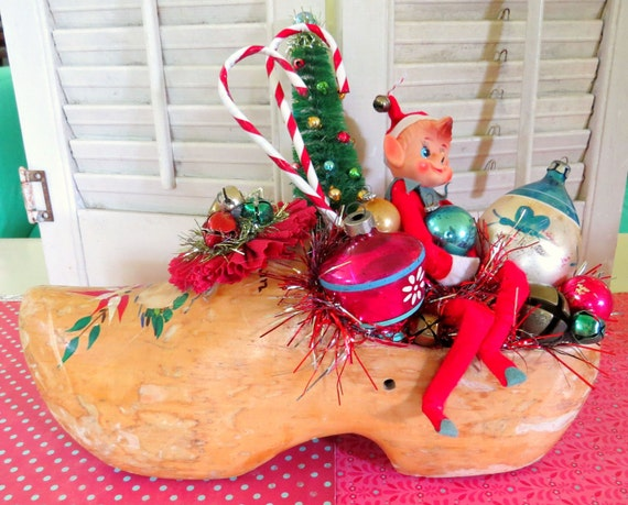 Vintage whimsical christmas wooden shoe and elf decoration