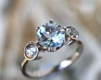 Aquamarine And White Sapphire Palladium Ring, Gemstone Ring, Three Stones Ring, Engagement Ring, Stacking Ring -Made To Order