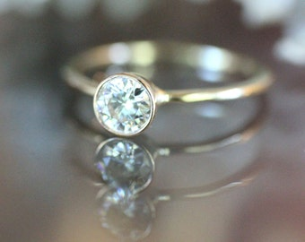 5.5mm Forever Brilliant Moissanite 14K Gold Engagement Ring, Stacking Ring, Eco Friendly, Wedding Ring - Made To Order