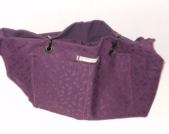 Megan Carry-All in plum leaf patterned upholstery fabric with a purple cotton lining