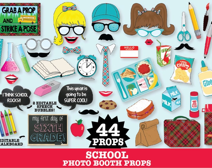 School Photo Booth Props, Back to School Party, Teacher Appreciation Gift & College Party - INSTANT Download PDF - 44 DIY Printable Props