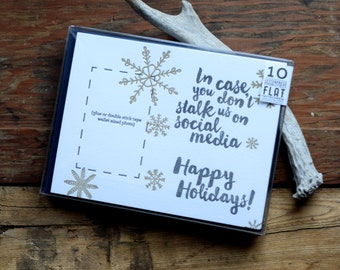 SASS-H152-10 In Case You Don't Stalk Us On Socail Media holiday photo letterpress card