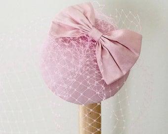 Pink fascinator-Pink silk hat-Birdcage veil-Silk cocktail hat-Pink bow hat.
