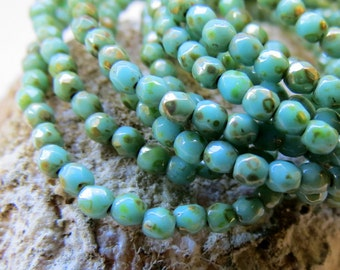 NEW Tumbled Turquoise .  Czech Picasso Glass Beads (50 beads) 3 mm
