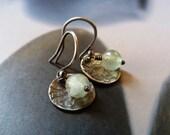 Prehnite silver earrings, Sterling silver disc, rustic dangle earrings, natural jewelry