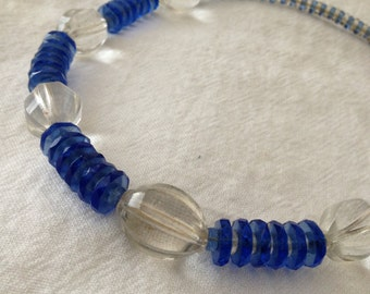 Blue and Clear Glass Choker Faceted