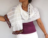 Pure Cotton Scarf, Shawl, Natural Color Beige Cream Ethnic Scarf Hand Woven Mothers Day Gift