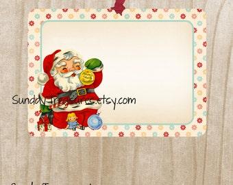 Sets of 6 / Retro Vintage Christmas Santa Claus Tags / / Favor Bag Gift Tags Label / Ornament / 3 DayShip (ref-ts)