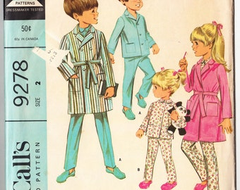 Vintage 1968 McCall's 9278 Sewing Pattern Boys' or Girls' Robe and Pajamas Size 2
