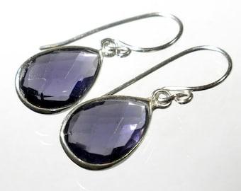 Purple Amethyst Earring, Amethyst Drop Earring, Amethyst Briolette Earring, Sterling Silver