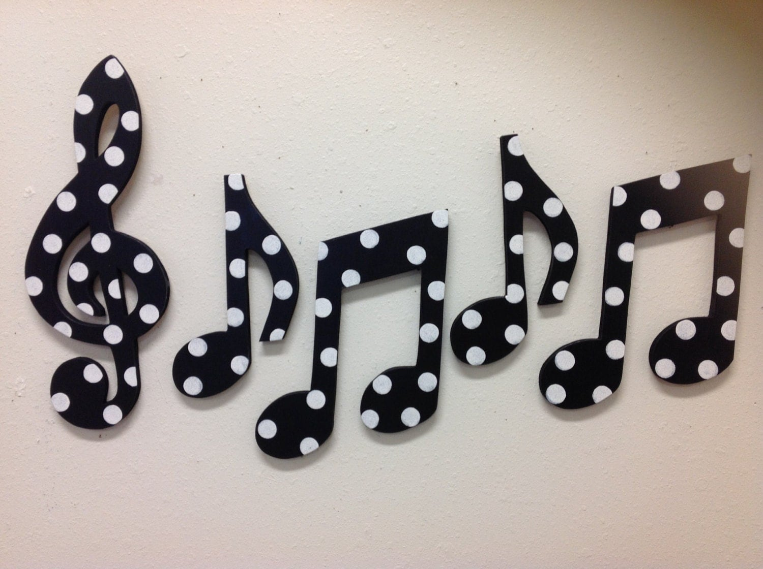 Wall Decor For Black Wall : Music notes wall decor black and white