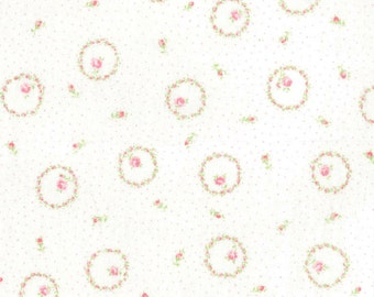 Yuwa Circles of Pale Pink Roses on Light Cream with Pink Pin Dot AT816888D Cotton Fabric
