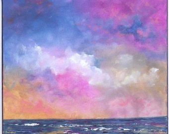 Beach painting, colorful clouds with blue and pink tones. Ocean painting square 12x12 with fluffy clouds
