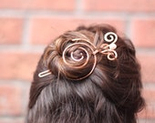 Spiral bun cage with white pearl swirly stick in copper - Hair slide - Hair accessories - Hair barrette - Hair pin