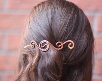Simple spiral hair barrette in copper - Hair slide - Hair accessories - Shawl pin