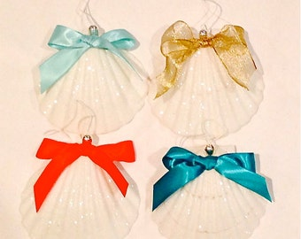 """Beach Ornament - Large Glittered Shell Christmas Ornament - 3.5""""-4""""  Choose from 5 Ribbon Colors"""