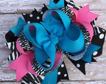 Turquoise Zebra and Hot Pink Hair Bow, Baby Headband, Infant Headband, Newborn Headband, Baby & Toddler, Birthday Bow, School Bow, Cheer Bow