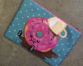 Kawaii Cute Donut Spills his Coffee Cosmetic Bag Size Large Pink Zipper
