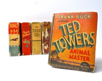 Vintage Ted Towers Animal Master Book, Big Little Book, Frank Buck Book, 1930s ephemera, vintage comic strip panels