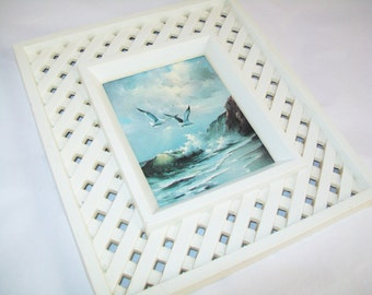 SALE - Vintage Sea Picture with lattice type frame, 1960s, decor